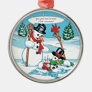 Muñeco de nieve divertido con el dibujo animado adorno navideño redondo de metal