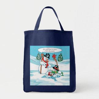 Muñeco de nieve divertido con el dibujo animado de bolsa tela para la compra