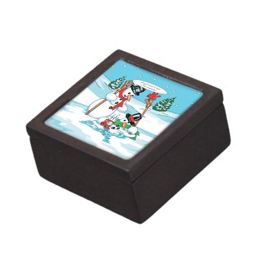 Muñeco de nieve divertido con el dibujo animado de cajas de regalo de calidad