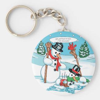 Muñeco de nieve divertido con el dibujo animado de llavero personalizado