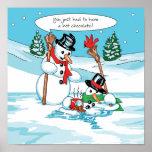 Muñeco de nieve divertido con el dibujo animado de impresiones