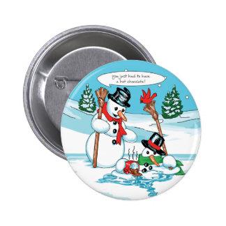 Muñeco de nieve divertido con el dibujo animado de pin redondo de 2 pulgadas