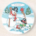 Muñeco de nieve divertido con el dibujo animado de posavasos diseño