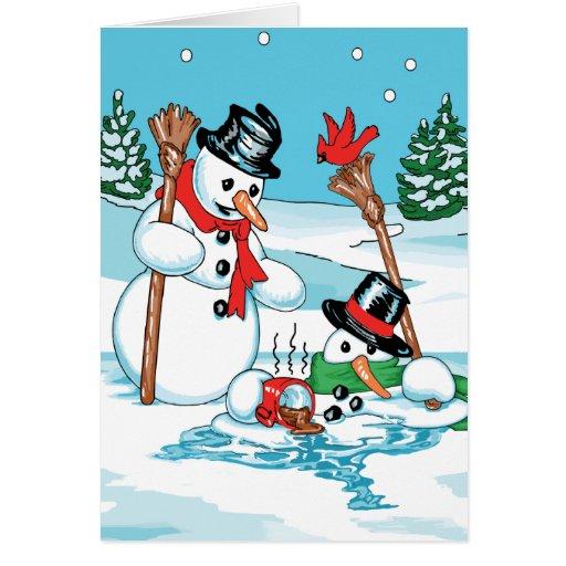 Muñeco de nieve divertido con el dibujo animado de tarjeton