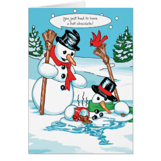 Muñeco de nieve divertido con el dibujo animado de tarjetón