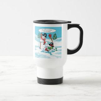 Muñeco de nieve divertido con el dibujo animado de taza de viaje de acero inoxidable