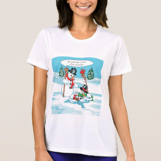 Muñeco de nieve divertido con el dibujo animado playera