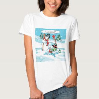 Muñeco de nieve divertido con el dibujo animado poleras