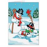 Muñeco de nieve divertido con el dibujo animado tarjeta de felicitación