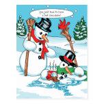 Muñeco de nieve divertido con el dibujo animado postal