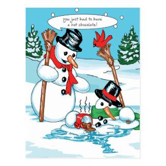 Muñeco de nieve divertido con el dibujo animado tarjetas postales