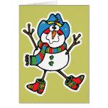 muñeco de nieve divertido del vaquero felicitación