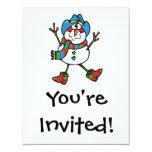 muñeco de nieve divertido del vaquero invitación 10,8 x 13,9 cm