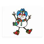 muñeco de nieve divertido del vaquero postal
