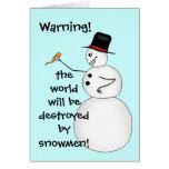 Muñeco de nieve divertido malvado del navidad tarjeton