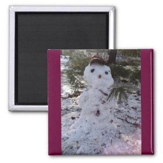 Muñeco de nieve dulce imán cuadrado