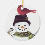 Muñeco de nieve dulce y ornamento cardinal adorno de navidad