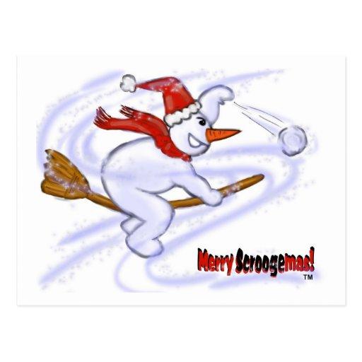 Muñeco de nieve en bola de nieve que lanza de la e postal