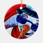 Muñeco de nieve en bufanda roja adorno de reyes