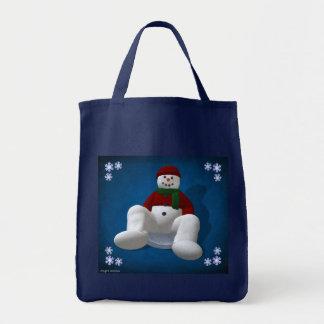 Muñeco de nieve en disco de la nieve bolsa tela para la compra