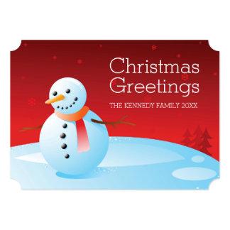 """Muñeco de nieve en el cielo rojo invitación 5"""" x 7"""""""