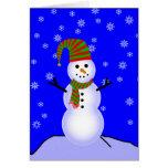 Muñeco de nieve en gorra rayado verde rojo y bufan tarjetas