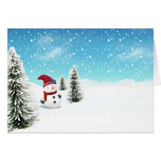 Muñeco de nieve en la nieve felicitacion