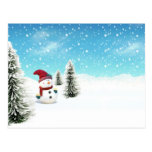 Muñeco de nieve en la nieve tarjeta postal