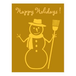 muñeco de nieve en oro oscuro postal