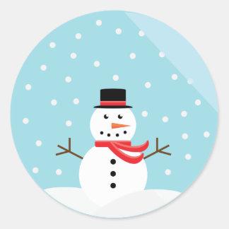 Muñeco de nieve en pegatinas de un globo de la nie