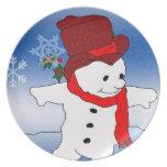 Muñeco de nieve en Red Hat Plato Para Fiesta