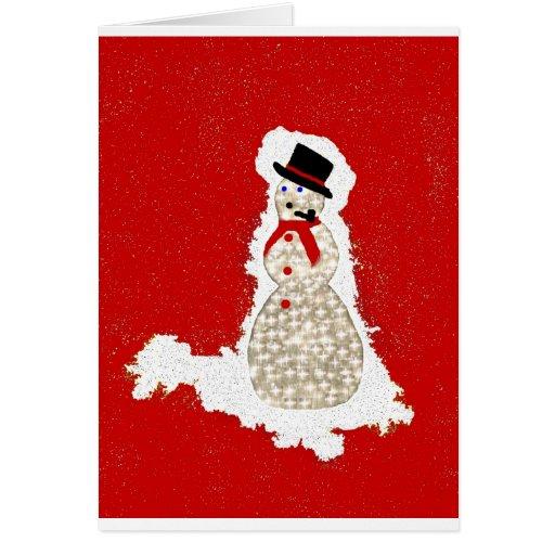 muñeco de nieve en rojo tarjeta de felicitación