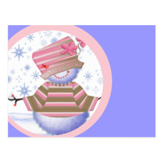 Muñeco de nieve en rosa y azul