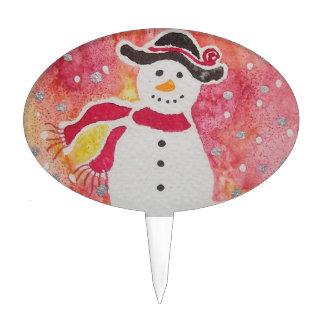 Muñeco de nieve en un gorra flojo figuras para tartas