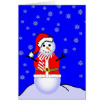 Muñeco de nieve en un juego de Santa con la bufand Tarjetas