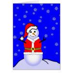 Muñeco de nieve en un juego de Santa Tarjetón