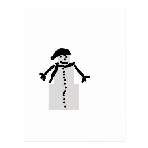 muñeco de nieve encajonado postal