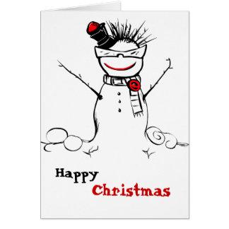 muñeco de nieve enrrollado con la tarjeta de