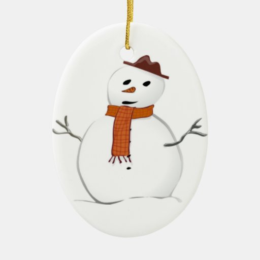 Muñeco de nieve escarchado adorno ovalado de cerámica