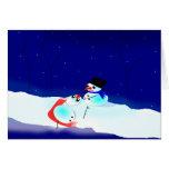 Muñeco de nieve, escena del humor de Snowwoman Tarjeton
