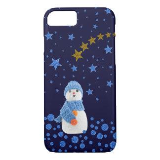 Muñeco de nieve, estrellas azules brillantes en funda iPhone 7