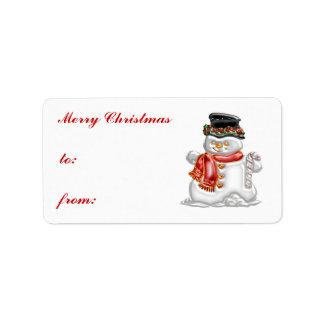 Muñeco de nieve etiqueta de dirección
