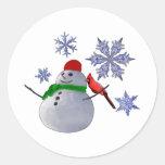 Muñeco de nieve etiqueta redonda