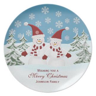 Muñeco de nieve: Familia personalizada: Placa del  Plato Para Fiesta