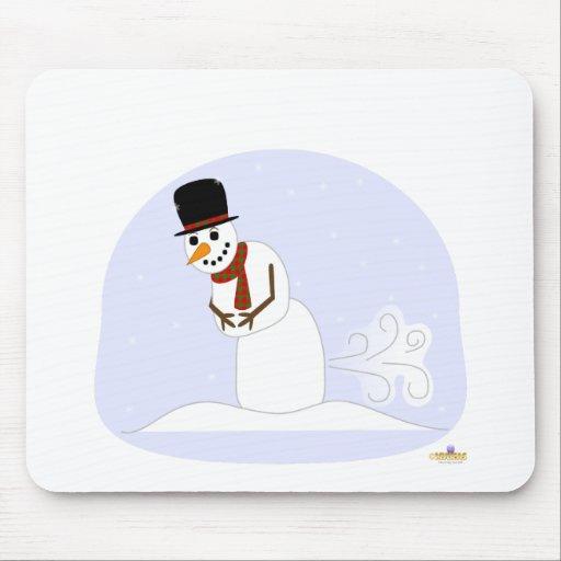 Muñeco de nieve Farting Alfombrillas De Ratón