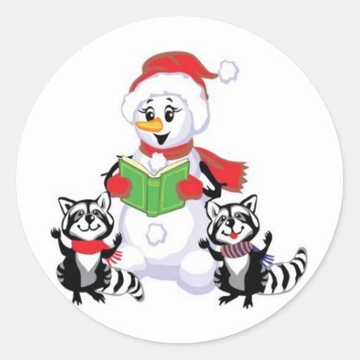 Muñeco de nieve, Felices Navidad Pegatina Redonda
