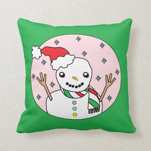 Muñeco de nieve feliz almohada