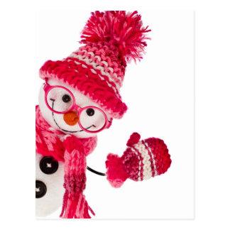 Muñeco de nieve feliz con gafas en gorra rosado postales