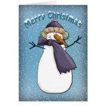 Muñeco de nieve feliz con la bufanda tarjetas
