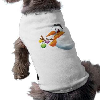 Muñeco de nieve feliz con las bolas de Navidad Camiseta De Mascota